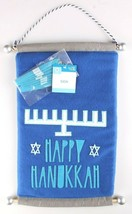 Happy Hanukkah Hanukiah Felt Banner Sign w Menorah & Stick on Candles Blue NEW image 1