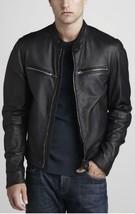 Mens Black Handmade Bespoke cowhide Jacket Real Leather Jacket genuine Leather - $118.79+