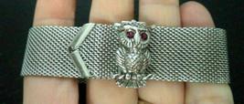 Vintage Signed Sarah Coventry Rhinestone eye Owl Bird Bracelet 7 3/4th inch - $24.74