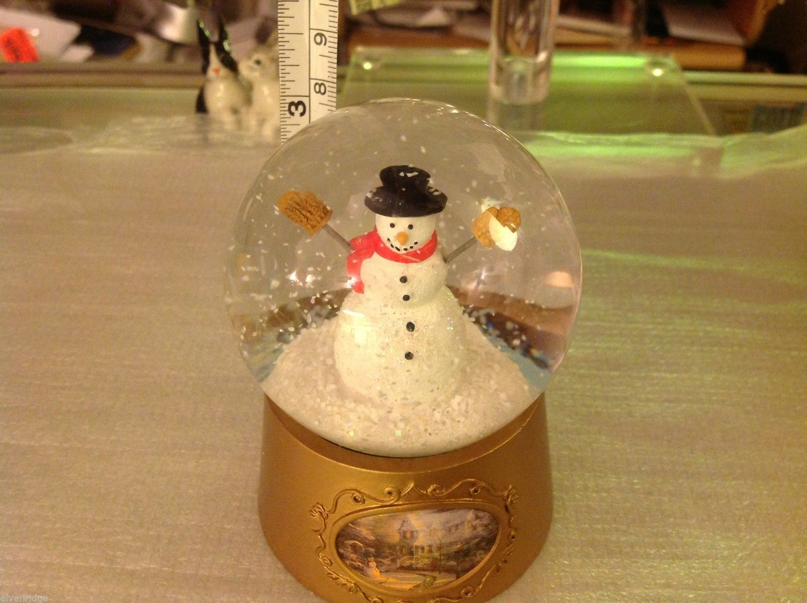 snow globe  waterball NIB Snowman with sparkly snow Thomas Kinkade