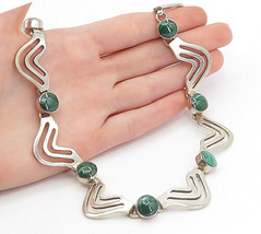 MEXICO 925 Silver - Vintage Malachite Shiny Wavy Link Chain Necklace - N... - £202.51 GBP