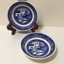 """2 Fruit Desert Bowls Bowl Blue Willow Homer Laughlin 5.25"""" B63N4 - $11.64"""