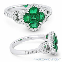 1.35 ct Oval Princess Emerald Diamond Pave 18k White Gold Right-Hand Flower Ring - $3,098.69