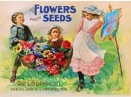 1896 Lippincott  Vintage Flowers Fruit Seed Packet Catalogue Poster Art ... - $8.22