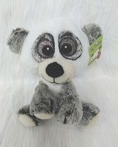 "9"" Toy Factory Panda Bear Big Glitter Eyes Sparkly Gray White Soft Plush... - $14.97"