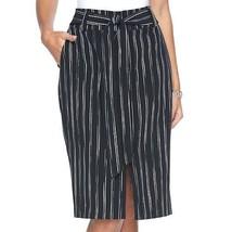 Apt. 9® Tie-Front Midi Skirt Black & White Stripe  Women's Sz.4 NWOT MSR... - $21.52