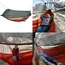 Equip Nylon Mosquito Hammock With Attached Bug Net, 1 Person Red And Tau... - $67.99