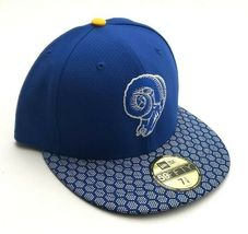 New Era Los Angeles Rams 5950 On Field 2017 Sideline Fitted Hat Blue Size 7 3/8 image 5
