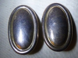 Vintage Oval Clip On Mexican 925 Sterling Silver EARRINGS Taxco 1979+ 18... - $60.00
