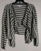 DKNY Cardigan Sweater Grey & Silver Striped Open-Front  Size M/L - $8.37