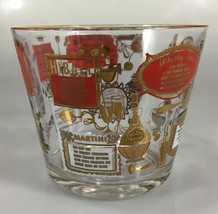 Jeannette Glass Ice Bucket Cocktail Recipes Gold Rim Mid Century Modern MCM - $44.10