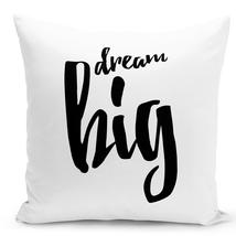 Throw Pillow Dream Big Inspiration Pillow White Home Decor Pillow 16x16 - $28.49