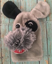 AGS Shiner Dog Hand Puppet Schnauzer Black Eyed Puppy Stuffed Animal Plu... - $12.86