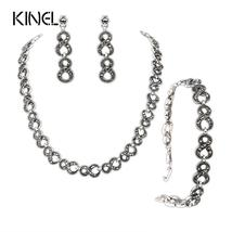 Gorgeous 3Pcs Gray Crystal Jewelry Sets Silver Plated Retro Bracelets An... - $29.95