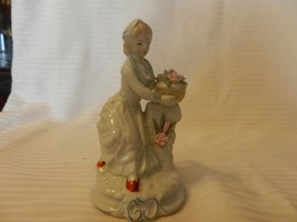 """Vintage White Ceramic Girl With Flowers on Wall Figurine 5.25"""" Tall - $39.60"""