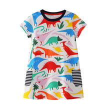 NEW Dinosaur Girls White Short Sleeve Pocket Dress Size 5 6 - $12.99