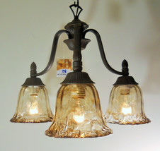 Tannery Bronze Finish Chandelier Light Handmade Glass Cottage Cabin Lodge - $134.49