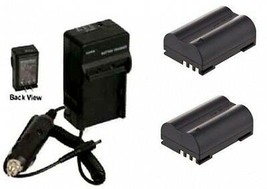 TWO 2 BLM-1 BLM0-1 Batteries + Charger for Olympus C-5060 C-7070 C-8080 E-1 E-3 - $35.95