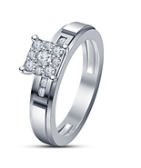 Charming Full Silver Plated White Sim Diamond Dazzling Engagement Ring - $4.70