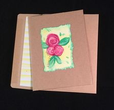 Floral Watercolor and Ink Blank Card - $5.99