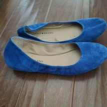 LUCKY BRAND ERIN Suede Ballet Flats Slip On Shoes Bright Blue Womens 7.5 - $29.69
