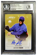 Anthony Rizzo Signed 2011 Just Limited Gold Signatures LE/50 Trading Car... - $125.00