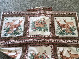 """45"""" x 124"""" Vintage Wild Deer Fawn Family Fabric Christmas Flowers Block ... - $45.00"""