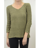 S NEW COZY Madison Hill Ladies Olive Green Cotton Cable Knit V Neck Swea... - €66,27 EUR