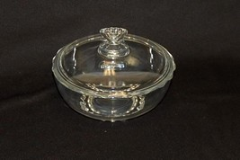 Mid-Century Vero Clear Glass Serving Bowl With Scallop Edge Triangle Han... - $13.86