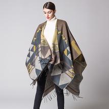 Women Winter Shawl Blanket Cloak Bohemian Style Cape Wrap Festival Cloaks- gray