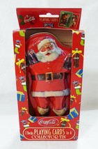 Coca cola playing cards santa clause two decks in embossed tin advertising - $18.81