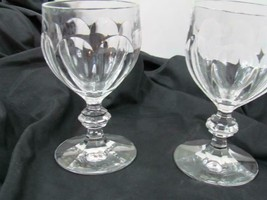 """Lot of 2 Crystal 5 1/2"""" Water Goblets Clear No Trim Cut Glass Mikasa - $56.99"""