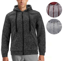 Men's Slim Fit Hoodie Warm Sherpa Lined Fleece Zip Up Heathered Sweater Jacket