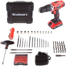 Stalwart 20V Lithium Ion 62 Pc 2 Speed Hammer Drill And Accessory Kit - $99.82