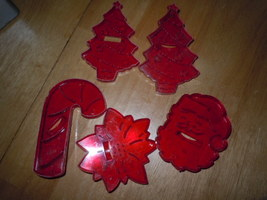 Vintage 5 Red Clear NRM Christmas Cookie Cutters  - $8.99