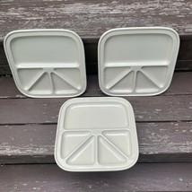 TIL Japan Mid Century (3) Divided Ceramic Plates Sushi Fondue Appetizer ... - $42.07