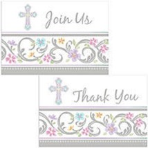 Blessed Day Cross Invitations 8 ct  Baptism or Christening Pastel Party - $4.99