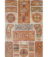 CHURCH PAINTINGS 13th C Wall Ornaments France - 1888 COLOR Litho Print - $21.60