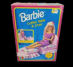 Vintage 1992 Mattel Barbie Coffee Table + Chair Ottoman 100% Complete 9322 Box - $64.52