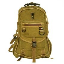 Blancho [City Boy] Multipurpose Canvas Outdoor Backpack / School Bag - Khaki - $24.74