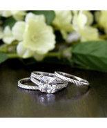 Solitaire Diamond Simulants Wedding Ring- 925 Silver CZ Ring - Engagemen... - $89.00