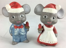 "Christmas Handpainted Mr & Mrs Mouse Holiday Decor Ceramic Santa Hat 3"" ... - $4.99"