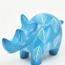 Vaneal Group Hand Carved Kisii Soapstone Sky Blue Rhinoceros Rhino Figurine image 2