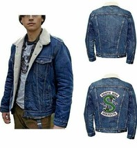 Men's South side Fur Shearling Long Sleeve Denim Outwear Jacket  - $89.99+