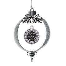 Inspired Silver Always in my Heart Circle Holiday Christmas Tree Ornamen... - $14.69