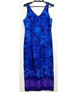 Vintage DBY Blue Purple Floral Sleeveless V Neck Maxi Dress Juniors Size... - $18.31