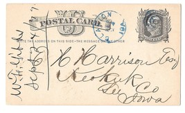 UX5 Clarion Iowa to Keokuk Co 1877 Delinquent Tax Bill Blue Fancy Cancel... - $12.00