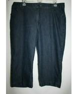 Lee Misses 16 M Blue Jean Denim Capri Pants Short Cotton Stretch Dark Wa... - $16.37