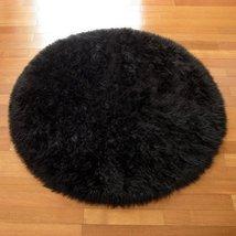 HUAHOO Black Faux Sheepskin Area Rug Chair Cover Seat Pad Plain Shaggy A... - $35.00