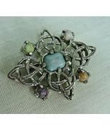 "j147 CELTIC KNOT PIN BROOCH IRISH SCOTTISH Faux Gemstones 2 x 1.5"" Silve... - $19.79"